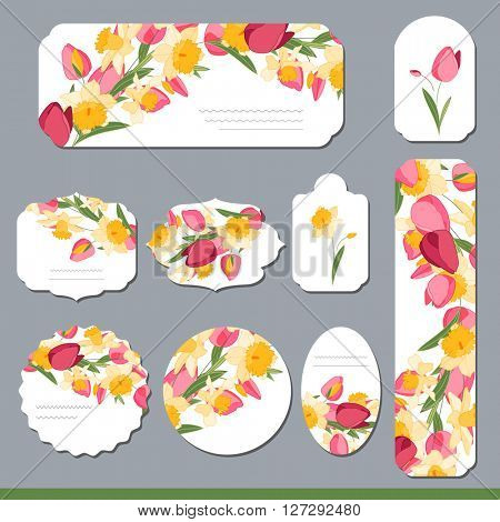 Collection with different floral paper labels for  announcements. Round,square,rectangular, different shapes. Red,yellow and pink flowers. Tulips and daffodils