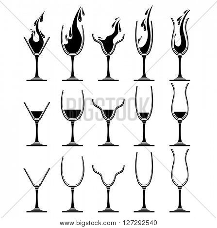 Set with different glasses for wine. Black and white. For your desing,restaurant and cafe menu.