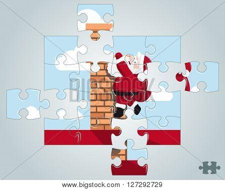Puzzle Santa hanging on the chimney vector illustration
