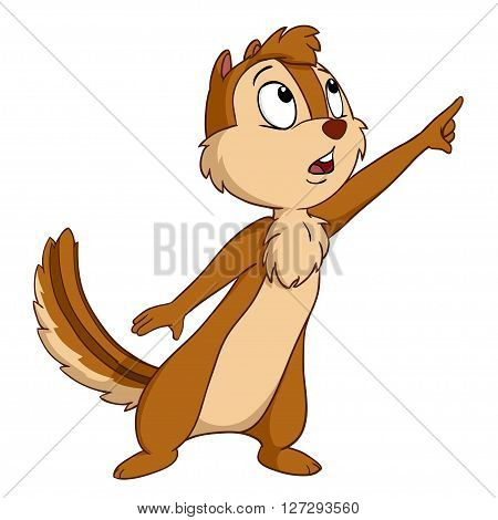 Cartoon chipmunk isolated on the white background. Vector illustration.