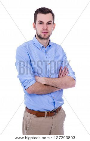 Young Handsome Man Standing Isolated On White