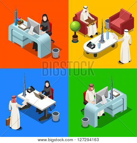Middle Eastern Arab Caliph Businessman 3D Flat Isometric People Collection. Arab Business Man Drawing. Finance Character Picture. Infographic Elements Isolated Vector Image.