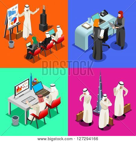 Middle East Arab Businessmen working on Laptop. Arabian hijab desk woman working at a laptop. Flat 3D Isometric People Collection. Infographic Elements Isolated Vector Image