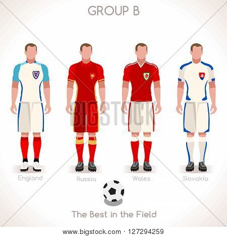 France EURO 2016 Championship Infographic Qualified Soccer Players GROUP B. Football Game Jersey flags of final participating countries. Flat People Icon. JPG. JPEG. Picture. Image. Graphic. Art. Illustration. Drawing. Object. Vector. EPS. AI.