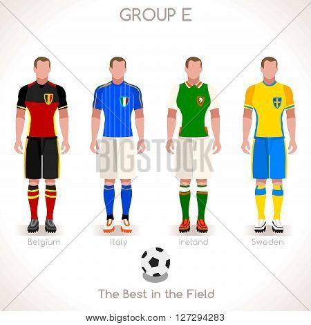 France EURO 2016 Championship Infographic Qualified Soccer Players GROUP E. Football Game Jersey flags of final participating countries. Flat People Icon. JPG. JPEG. Picture. Image. Graphic. Art. Illustration. Drawing. Object. Vector. EPS. AI.