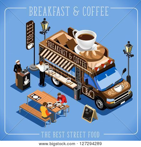 Espresso Breakfast Coffee Food Truck Delivery Master. Street Food Chef Web Template. 3D Flat Isometric Vehicles Food Truck Infographic Elements Isolated Icon. JPG. JPEG. Picture. Image. Graphic. Art. Illustration. Drawing. Object. Vector. EPS. AI.