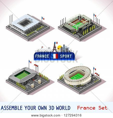 EURO 2016 France Stadium Football Icons. Bordeaux Atlantique Tienne Geoffroy Lens Bollaert Tolosa Municipal. Flat 3D City Map Isometric Infographic Elements Game Tiles Icon. JPG. JPEG. Picture. Image. Graphic. Art. Illustration. Drawing. Object. Vector. E