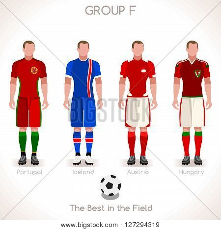 France EURO 2016 Championship Infographic Qualified Soccer Players GROUP F. Football Game Jersey flags of final participating countries. Flat People Icon. JPG. JPEG. Picture. Image. Graphic. Art. Illustration. Drawing. Object. Vector. EPS. AI.