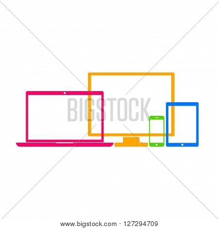 Device Icons: smartphone, tablet, laptop and desktop computer. Colorful device icons in flat style isolated on white background. Vector Illustration