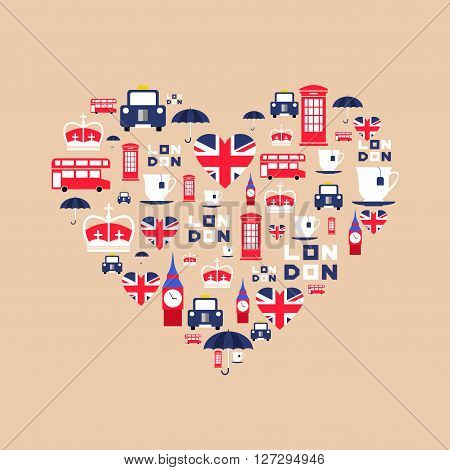 London icons in flat style arrange in the form of heart. England icons isolated on background. Vector iilustration