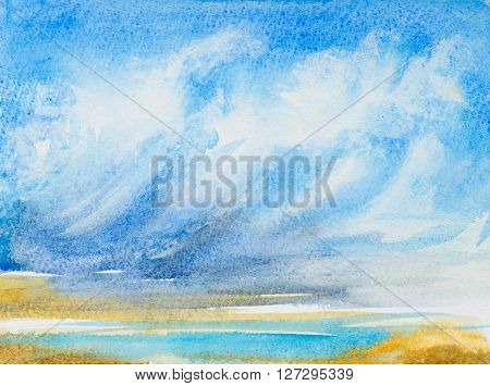 watercolor background with hand painted clouds water beach