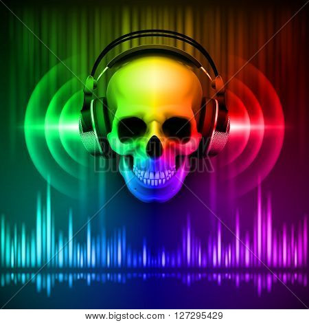Disco background with skull in headphones equalizer in spectrum colors