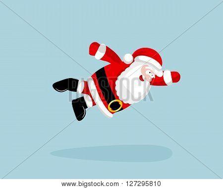 Super Santa Claus is flying. Vector illustration. EPS 8. No transparency. No gradients.