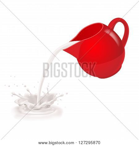 Milk being poured from a red jug.