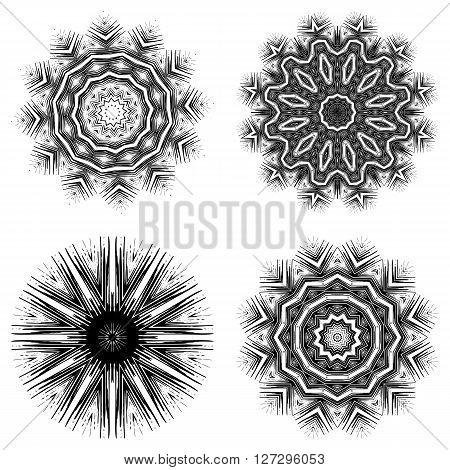 Set Of 4 Ornate Ethnic Mandala Or Festive Snowflakes. Monochrome  Luxury Oriental Motif. Fantasy Ele