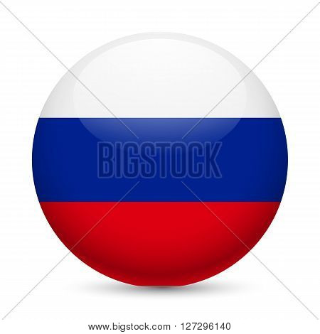 Flag of Russian Federation as round glossy icon. Button with Russian flag