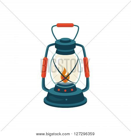 Cerosene Glass Lamp Cartoon Simple Style Colorful Isolated Flat Vector Illustration On White Background