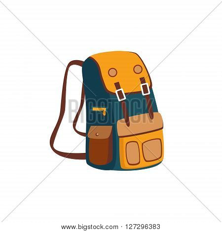 Backpack With Yellow Pockets Cartoon Simple Style Colorful Isolated Flat Vector Illustration On White Background