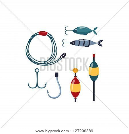 Fishing line, Sopinner And Hooks Cartoon Simple Style Colorful Isolated Flat Vector Illustration On White Background