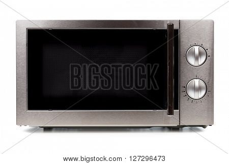 Microwave front view isoalted on white background