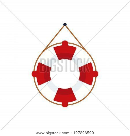 Life Preserver For The Boat Cartoon Simple Style Colorful Isolated Flat Vector Illustration On White Background