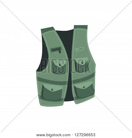 Fisherman Vest With Pockets Cartoon Simple Style Colorful Isolated Flat Vector Illustration On White Background