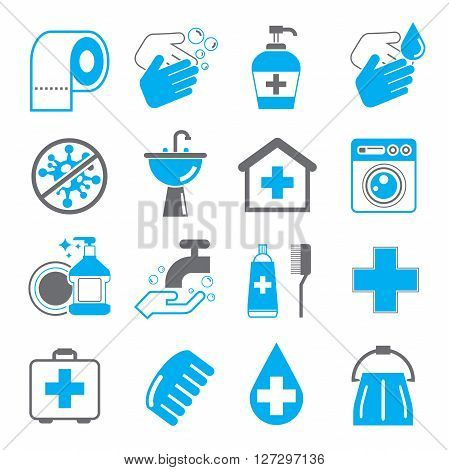 set of 16 hygiene and cleaning icons