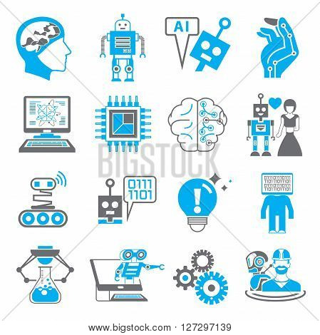 collection of 16 artificial intelligence icons icons blue color theme