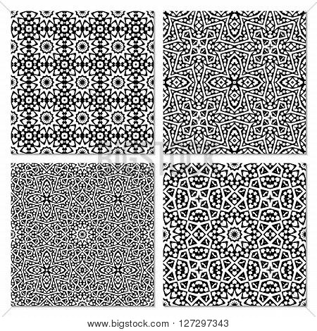 Set Of 4 Abstract Arabic Seamless Patterns.