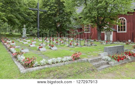KRISTIINANKAUPUNKI, FINLAND ON JULY 05. View of a landmark, memorial at Ulrika Eleonora Church on July 05, 2013 in Kristinestad Kristiinankaupunki, Finland. Memorial of fallen Finnish soldiers during the WWII. Editorial use.