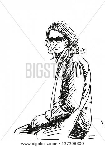 Sketch of woman seating isolated wearing sun glasses. Hand drawn illustration