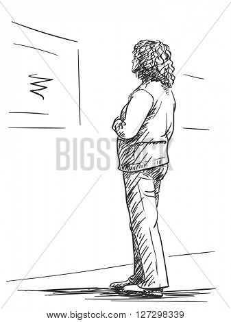 Sketch of woman exhibition visitor, Hand drawn illustration