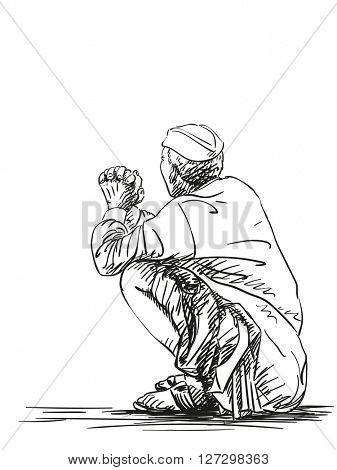 Sketch of old man squatting, Hand drawn illustration