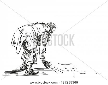 Sketch of Jain man sweeping with a broom, Hand drawn illustration