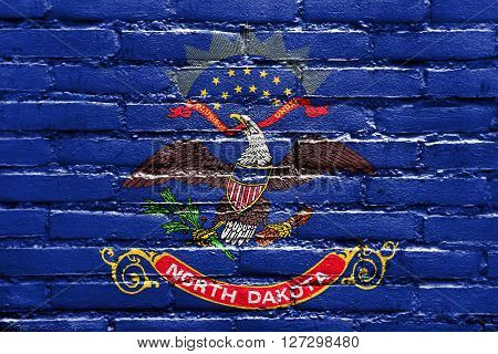 Flag Of North Dakota State, Painted On Brick Wall