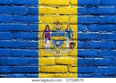 Flag Of Philadelphia, Pennsylvania, Painted On Brick Wall