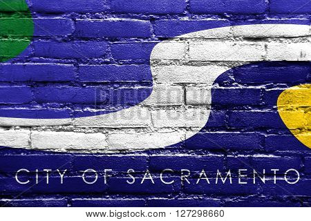 Flag Of Sacramento, California, Painted On Brick Wall