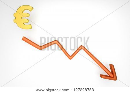 Decreasing Graph With Euro Symbol
