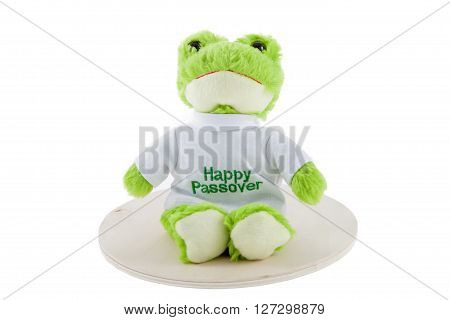 A Passover frog against a white background