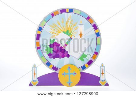 A communion centerpiece against a white background