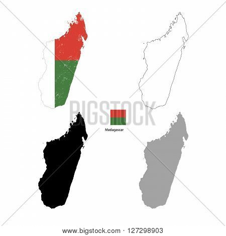Madagascar country black silhouette and with flag on background isolated on white