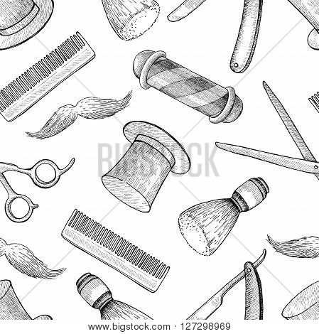 Vector vintage hand drawn Barber Shop seamless pattern. Detailed background. Mustage scissors ribbon whisker and lettering styled text. Design elements for background banner poster template.
