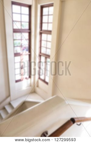 the Blur staircase in building and windows