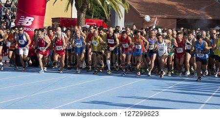 CAGLIARI ITALY - November 4, 2012: 5th Half Marathon - 4th memorial Delio Serra - Athletes at the start of the fifth edition of the Half Marathon City of Cagliari, which took place at the sports ground cones former Cagliari