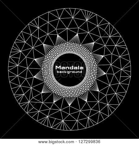 Abstract geometric round form mandala white on black background