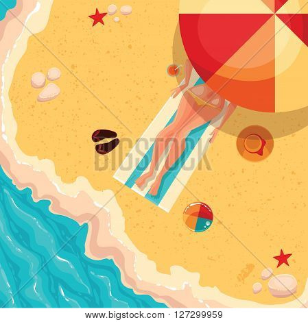 Girl lying on a sunny beach under an umbrella, sea shore, wave of next flip flops, ball games, hat, starfish and sand colored cartoon illustration of concept of summer recreation, tourism