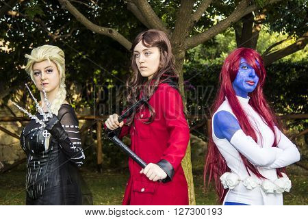 CAGLIARI ITALY - August 9 2015: Lost in Cosplay at the former glassworks Pirri - Sardinia -Group of girls in cosplay costume.