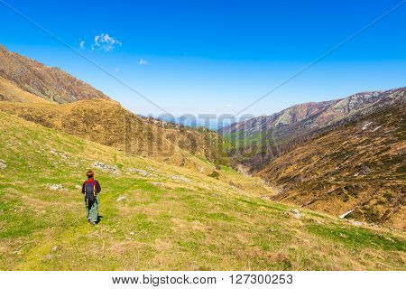 Hiking In The Alps On Panoramic Footpath