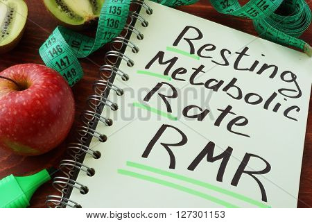 RMR Resting metabolic rate written on a notepad sheet.