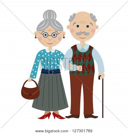 cartoon elderly couple young married smiling elderly